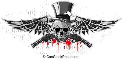 pistolas, emblema, cráneo