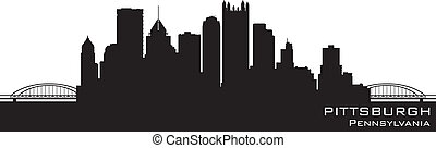Pittsburgh, Pennsylvania Skyline. Detallado vector silueta