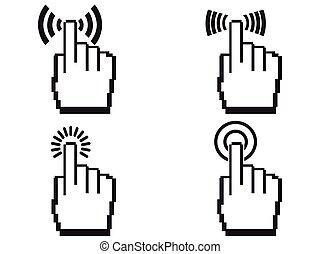 Pixel manos de icono