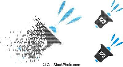 Pixelado fragmentado medio millón de noticias financieras icono rupor