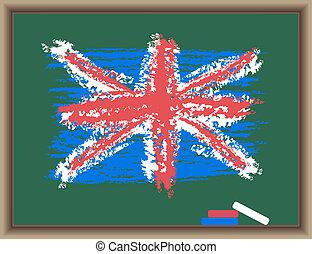 pizarra, bandera, inglaterra
