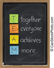 pizarra, concepto, trabajo en equipo