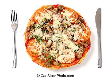 Pizza aislada en antecedentes blancos