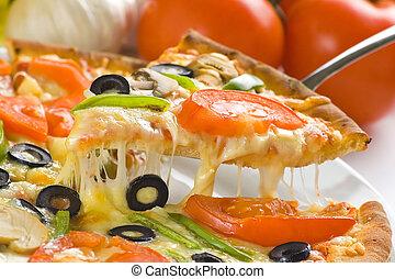 pizza, casero, fresco, tomate, queso, hongo, aceituna