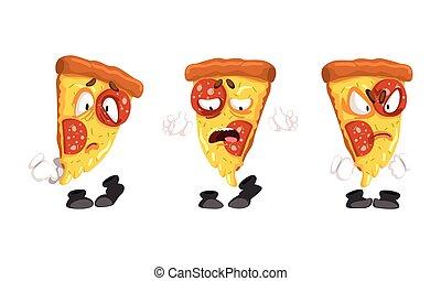 pizza, conjunto, lindo, caracteres, ilustración, rebanadas, caras, emocional, caricatura, vector, divertido, alimento, rápido