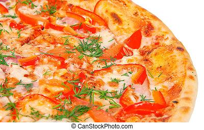 Pizza crujiente de oro con pimientos
