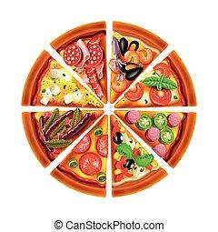 Pizza de diferentes rebanadas de vectores aislados