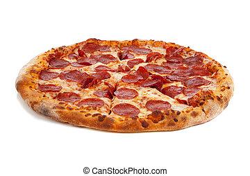 Pizza de pepperoni en blanco