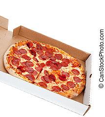 Pizza de pepperoni en caja en un fondo blanco
