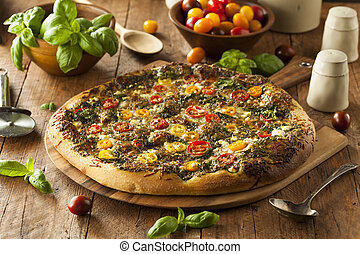 Pizza de pesto a la parrilla casera