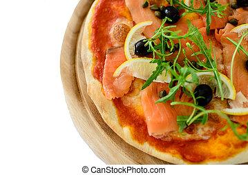 Pizza de rebanada de salmón