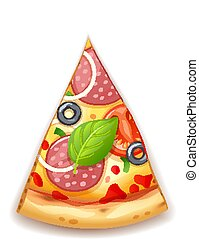 Pizza fresca con tomate, queso, aceitunas, salchichas, cebolla