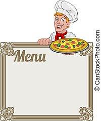 pizza, menú, hombre, señal, plano de fondo, cocinero, caricatura, chef