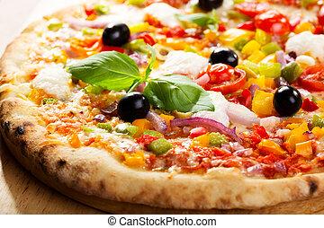pizza, vegetales