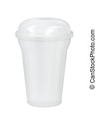plástico, frappe, blanco, o, zalamero, taza