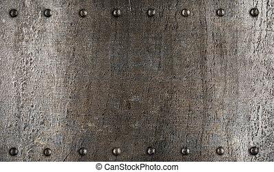 placa, armadura, metal, textura, o, remaches