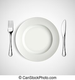 Placa blanca, tenedor y cuchillo.