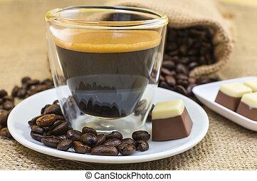 placa, café, pralines, espresso, crema, fresco