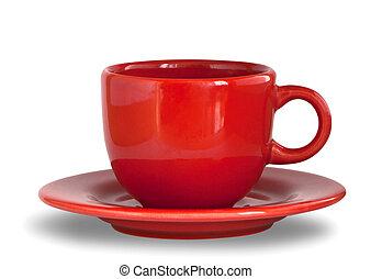 placa, café, taza roja