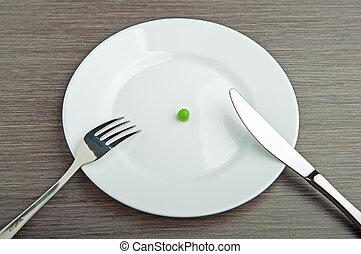 placa, concept., dieta, uno, blanco, guisante, vacío
