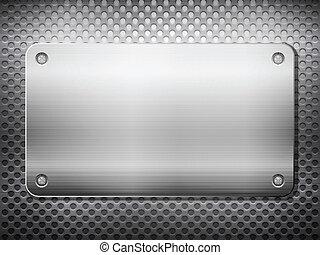 Placa cuadrada de metal negro