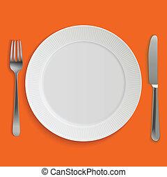 Placa de cena realista, cuchillo y tenedor