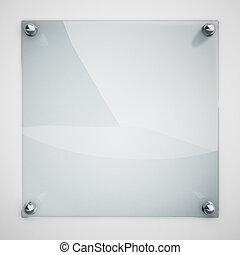Placa de cristal acoplado a la pared blanca con remaches de metal.