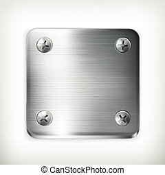 Placa de metal con tornillos, vector