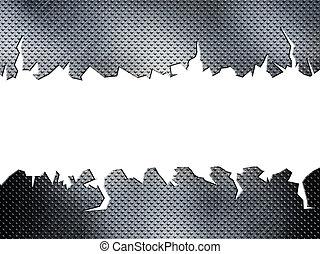 Placa de metal roto