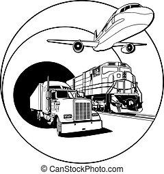 Placa de transporte en blanco y negro