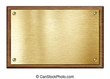 Placa dorada o placa de nombre en marco de madera aislada en blanco