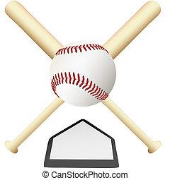 placa, emblema, cruzado, encima, beisball, hogar, murciélagos