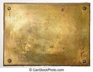 placa, latón, frontera, metal, amarillo