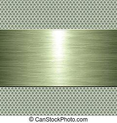 Placa metálica verde fondo