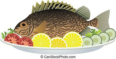 placa, pez, cocinado, vegetales, crudo