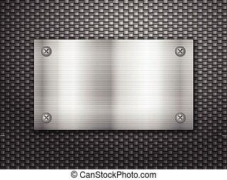 placa, plano de fondo, metal, carbón