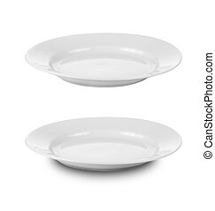 Placa redonda o platos aislados en blanco con el camino de recorte incluido