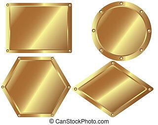Placas de metal de oro 2