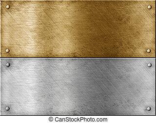 Placas de metal, incluyendo bronce (copper) o oro (brass) y acero