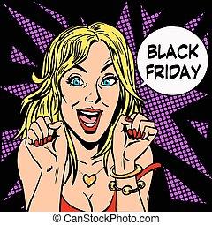 placer, viernes, negro, comprador, mujeres