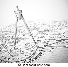 Plan de arquitectura con brújula