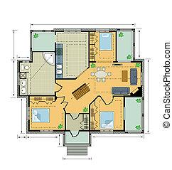 Plan de color, casa de campo