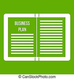Plan de estrategia de negocios verde icono