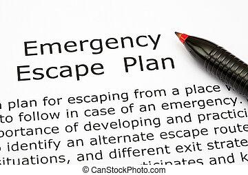 plan, emergencia, escape