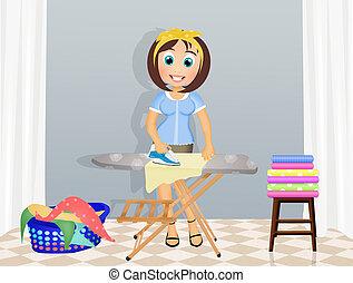planchado, ilustración, mujer