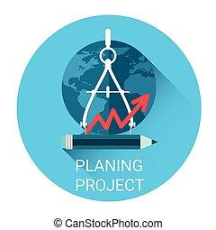Planeando proyecto de estrategia de icono de negocios
