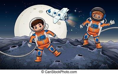 planeta, astronautas, dos, extraño, explorar