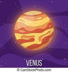 planeta, caricatura, estilo, venus, space., colorido, vector, design., ilustración, cualesquiera, venus., universo
