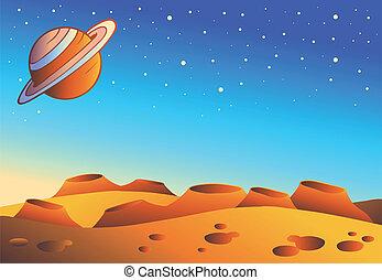 planeta, caricatura, paisaje, rojo