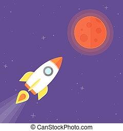 planeta, cohete, marte
